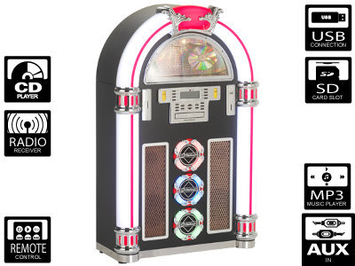Ricatech RR1600 cd-soitin XXL LED Jukebox (CD/MP3, USB/SD, Radio)